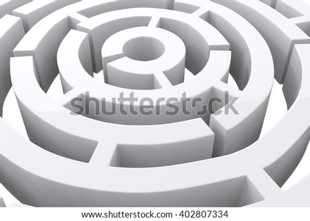 Circle maze against white background with vignette - stock photo
