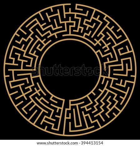 Circle Maze. Labyrinth with Entry and Exit. Find the Way Out Concept. Transportation. Logistics Abstract Background Concept. Transportation and Logistics Concept. - stock photo