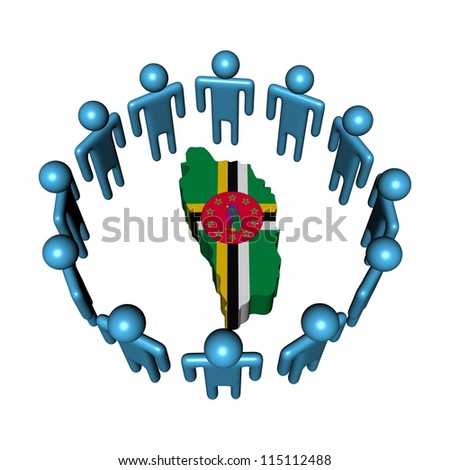 Circle of abstract people around Dominica map flag illustration