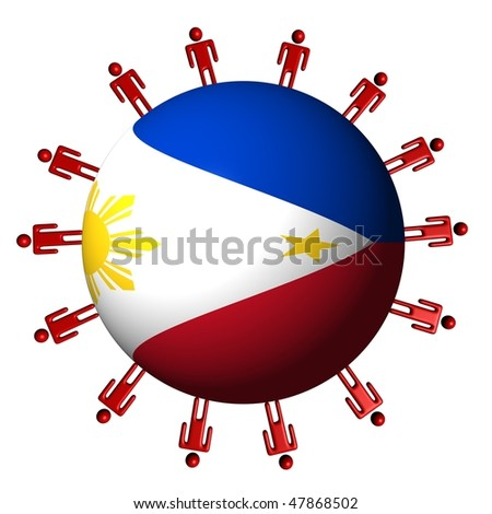 circle of abstract people around Philippine flag sphere illustration