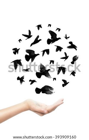 Circle of Birds flying out of women hand with hope, peace concept  - stock photo
