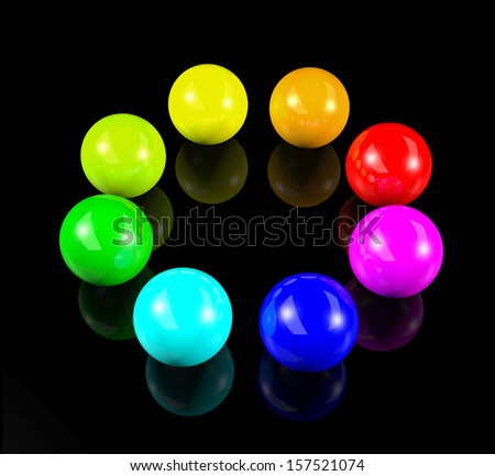 circle of 3d colorful balls - stock photo