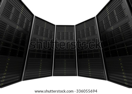 Circle of data servers while working. Red LED lights are flashing. Can represent cloud computing, information storage, etc. or can be the perfect technology background.  - stock photo