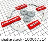 Circle of Development on grid floor and gears - stock photo