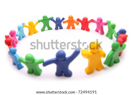 circle of diverse colorful plasticine people