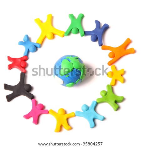 circle of diversity around the world - stock photo