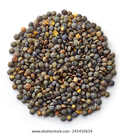 Circle of green lentils isolated on white background - stock photo