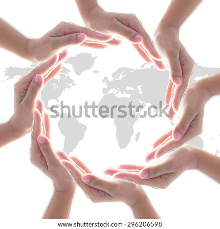 Circle of isolated people left hands group on white background with world map: Conceptual symbol of human hands surrounding the globe with world map. Unity, world peace, humanity, synergy concept