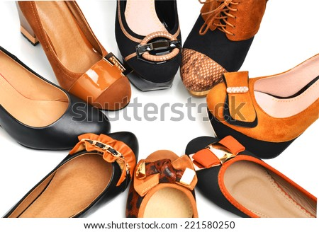 Circle of leather woman shoes isolated on the white background - stock photo