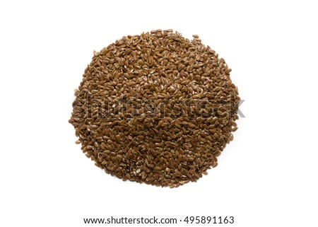 Circle of linseed isolated, white background