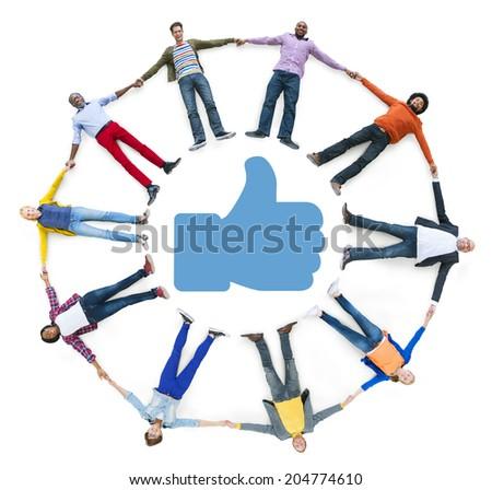Circle of Multiethnic People Thumbs Up Symbol - stock photo