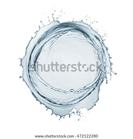 circle of natural water with splashing around, isolated on white