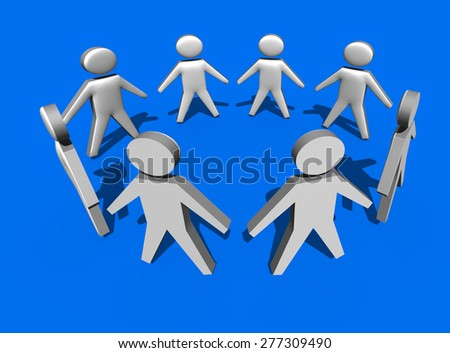 Circle of people in 3d on blue background - team work - stock photo