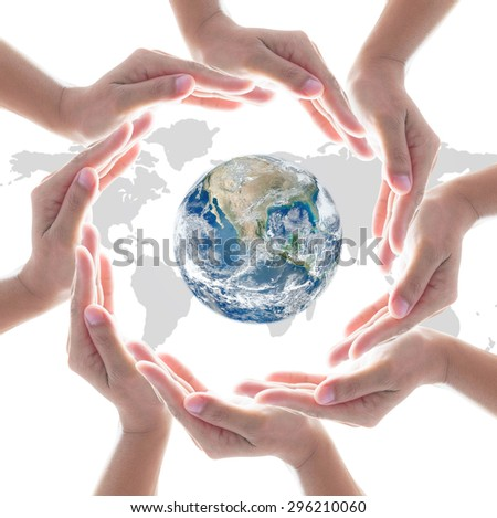 Circle of people left hands group on white background: Conceptual symbol of CSR synergy human hands surrounding globe world map: Collaboration idea concept: Elements of this image furnished by NASA   - stock photo