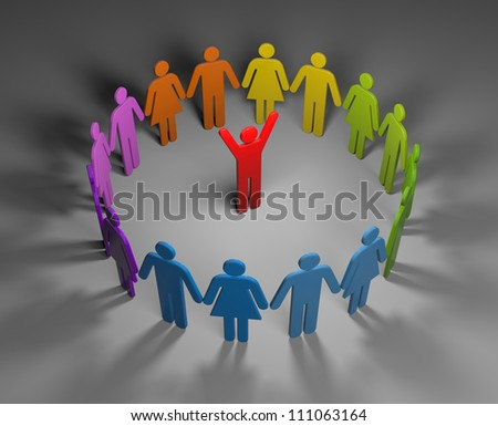 Circle of people with leader - stock photo