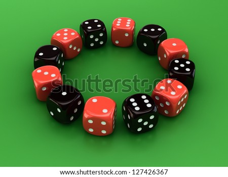 Circle of red and black dice on the green background
