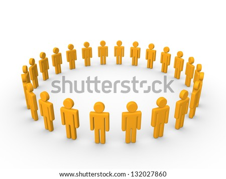 Circle of simple 3d characters. - stock photo