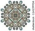 Circle ornament, ornamental round lace. Raster version - stock photo