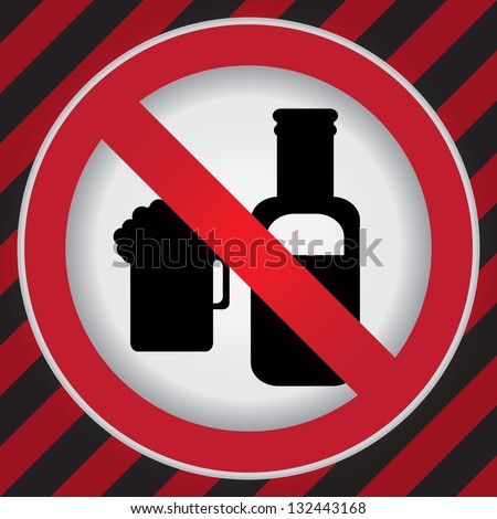 Circle Prohibited Sign For No Alcohol Sign in Caution Zone Dark and Red Background - stock photo