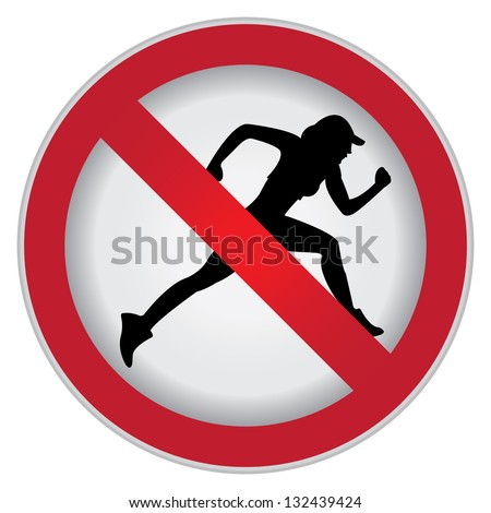 Circle Prohibited Sign For No Sport or No Running Sign Isolate on White Background - stock photo