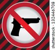 Circle Prohibited Sign For Stop Violence Or No Gun Sign in Caution Zone Dark and Red Background - stock photo