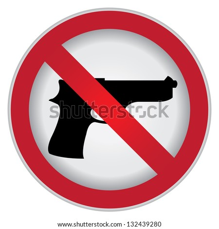 Circle Prohibited Sign For Stop Violence Or No Gun Sign Isolate on White Background - stock photo
