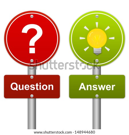 Circle Red and Green Question and Answer Road Sign in Metallic Style Isolated on White Background