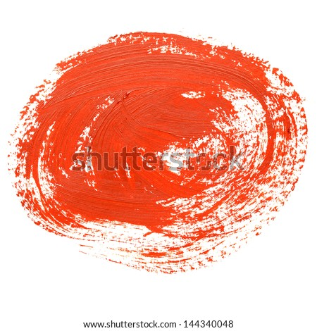 Circle red brush stroke isolated on the white background
