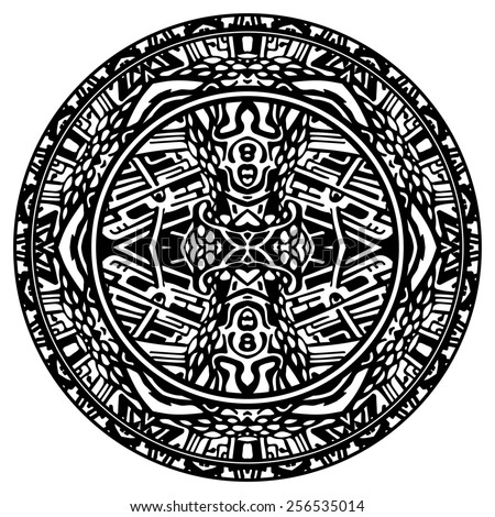 Circle reminiscent of the Mayan calendar - stock photo
