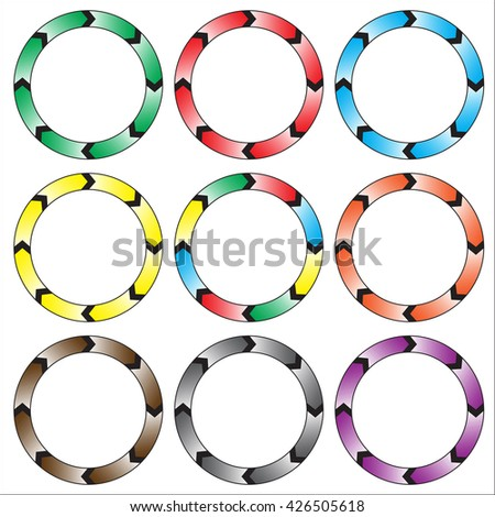 Circle, ring arrow black gradient. Set of colorful circle banners. Rasterized versions. Set-1