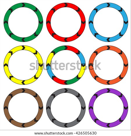 Circle, ring arrow black. Set of colorful circle banners. Rasterized versions. Set-1