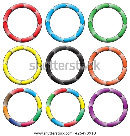 Circle, ring gradient. Set of 9 colorful circles. Eight connection. Rasterized versions.  Set-2