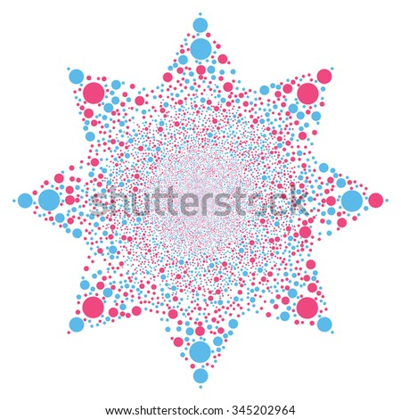 Circle Salute Flower glyph illustration. Style is pink and blue bicolor flat circles, white background.