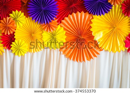 circle shape of origami papers with blinds - stock photo