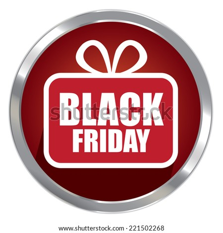 Circle Shape Red Metallic Style Black Friday Icon, Button or Label Isolated on White Background  - stock photo