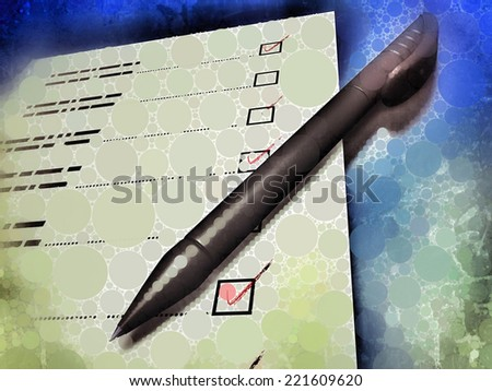 Circle-shaped pattern illustration showing a pen laying on a check-list, referring to concepts such as monitoring, evaluation criteria, work in progress, as well as questionnaires and forms in general - stock photo