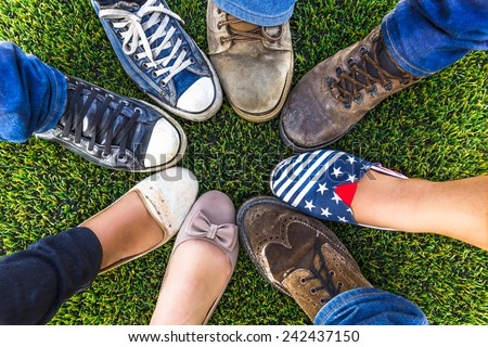 Circle shoe teenager for friendship - stock photo