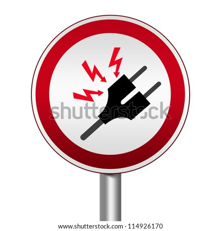 Circle Silver Metallic and Red Metallic Border Road Sign For High Voltage Isolated on White Background - stock photo