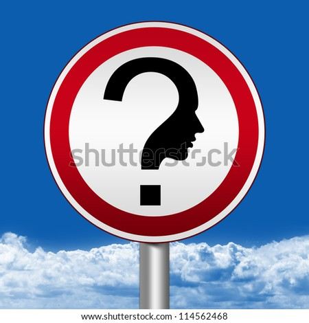 Circle Silver Metallic and Red Metallic Border Road Sign For Question and Confusion Sign Against The Blue Sky Background - stock photo