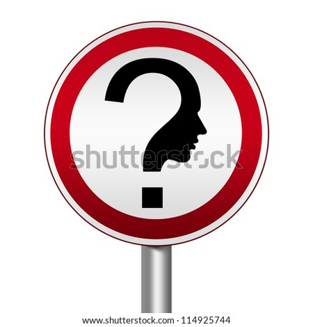 Circle Silver Metallic and Red Metallic Border Road Sign For Question and Confusion Sign Isolated on White Background - stock photo