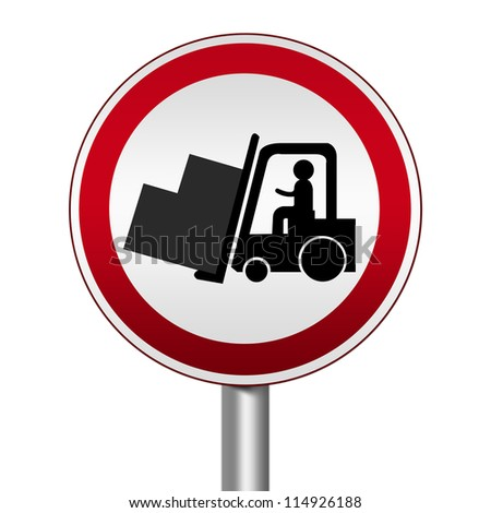 Circle Silver Metallic and Red Metallic Border Road Sign For Working Safely Around Forklifts Isolated on White Background - stock photo
