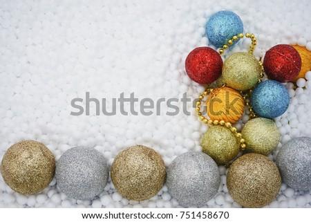 circle styrofoam balls texture polystyrene foam with christmas decorations