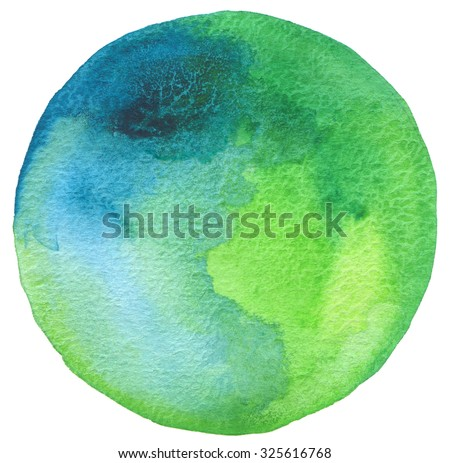 Circle watercolor painted background. Texture paper. - stock photo