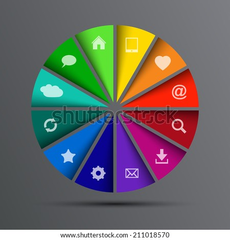 circle with icons (Vector version is also available in my portfolio, ID 180460232) - stock photo