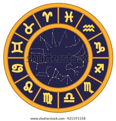 Circle with twelve zodiac signs and zodiac constellations.