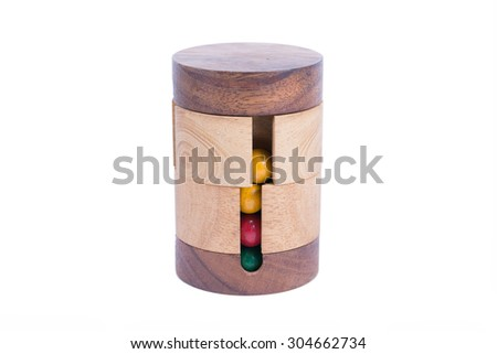 Circle wooden puzzle on a white background - stock photo