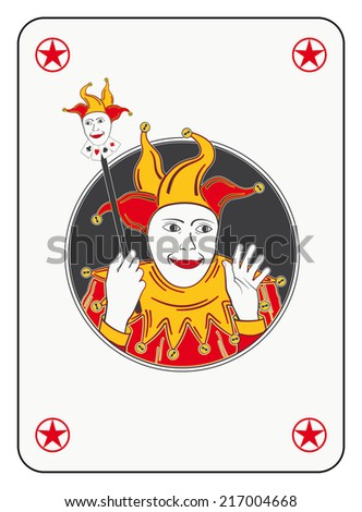 Circled joker playing card in red and orange costume - stock photo