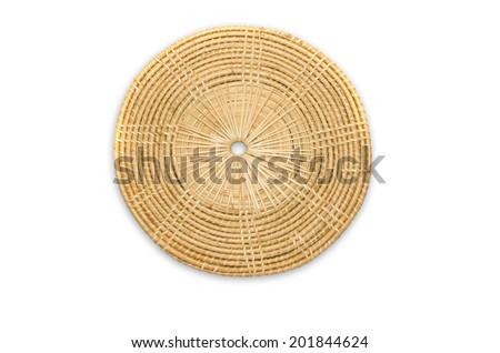 Circled Rattan Mat on white background - stock photo