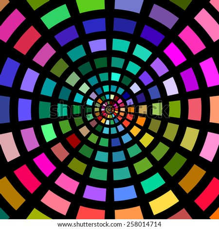 Circles of multicolored blocks on a black background. - stock photo