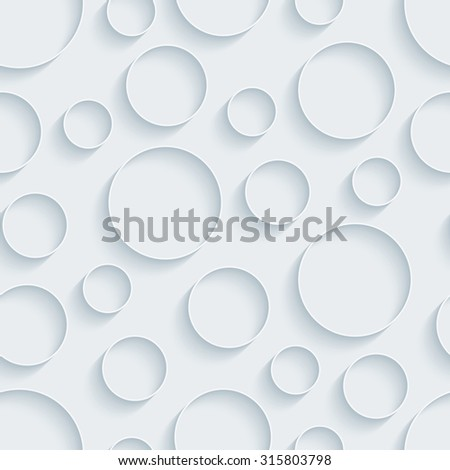 Circless. White paper with outline extrude effect. Abstract 3d seamless background. - stock photo